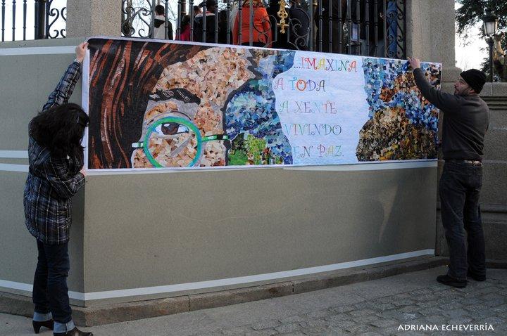 Mural por la paz en el Palco de la Alameda de Marín